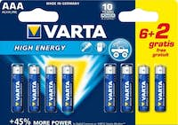 Varta Varta High Energy AAA 6+2pcs batería no-recargable