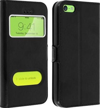 9c9a53b9c47 Comprar Funda iPhone 5C Doble ventana carcasa de silicona - Negra al ...