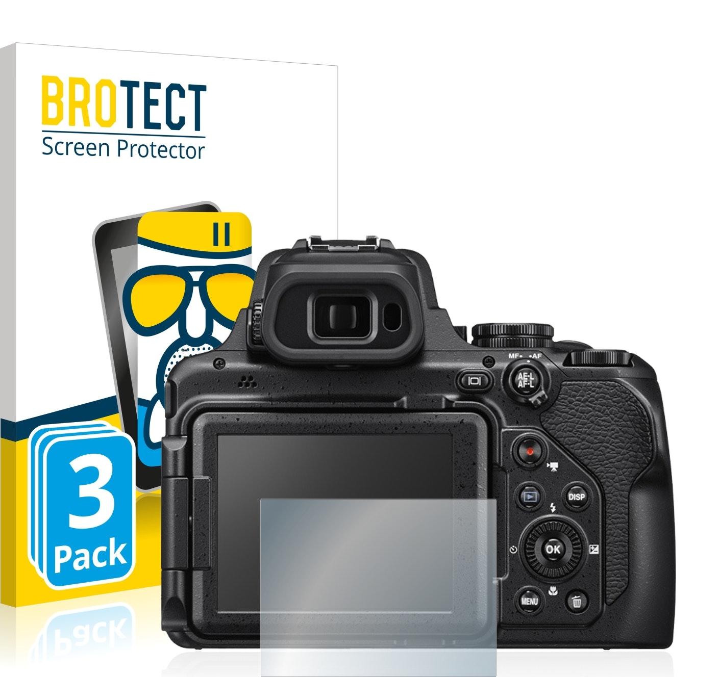 BROTECT Protector Pantalla Cristal para Nikon Coolpix P1000 AirGlass 3 Unidades - Cristal Vidrio 9H