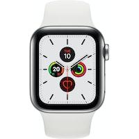 Apple Watch Series 5 GPS + Cellular 40 mm acero inox plata correa deportiva blanco