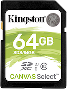 Kingston Technology SDXC 64GB Canvas Select